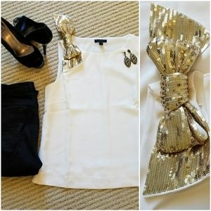 NWT J. Crew Ivory Airy Tank with Gold Sequins Bow